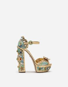 Dolce&Gabbana bags are key elements in every woman's wardrobe. Keira sandal with mirrored and jacquard calfskin platform, embellished with jewel embroidery: Cute Shoes, Me Too Shoes, Jeweled Sandals, Embellished Shoes, Girls Shoes, Ladies Shoes, Shoes Women, Luxury Shoes, Beautiful Shoes