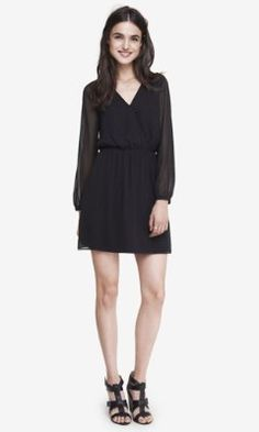 LONG SLEEVE SURPLICE DRESS from EXPRESS -- Could be spiced up with some chunky gold-hued jewelry.