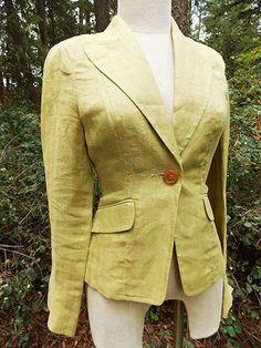 BEBE Blazer Size Medium Herringbone Jacket Linen Cuff Sleeve Lime Green #BEBE #Blazer