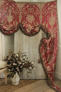 Antique French valance c1860 ~ wonderful silk damask textile with silk passementerie ~ Napoleon lll at it's best! Stunning, sophisticated textile ~ www.textiletrunk.com
