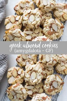 almond cookies Greek Almond Cookies (Amygdalota) are crunchy, chewy classic Greek cookies made with only 5 ingredients, and theyre naturally gluten-free! Keto Cookies, Greek Cookies, Almond Meal Cookies, Gluten Free Cookies, Gluten Free Desserts, Gluten Free Pasta, Greek Sweets, Greek Desserts, Easy Desserts