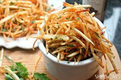Shoestring fries with black truffle oil, sea salt and parsley