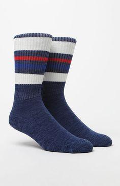 Gym Stripe Crew Heather Blue Socks