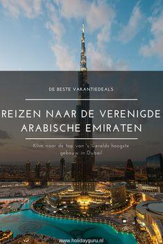 Wist je dat een stedentrip naar Dubai helemaal niet duur is? Voor een fijn prijsje verblijf je al in een luxe hotel in deze waanzinnige stad waar je nooit uitgekeken raakt. Voor de beste Dubai vakanties en andere reizen naar de Verenigde Arabische Emiraten, check je Holidayguru! Dubai, Abu Dhabi, Burj Khalifa, Places, Hotels, Poster, Travel, Shopping Mall, World