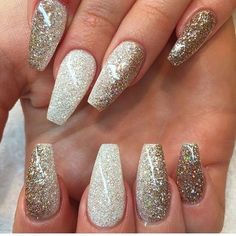 Prom nails, almond shape gold stiletto nails, white acrylic nails with glitter, white Coffin Nails Long, Long Nails, Thin Nails, Short Nails, Fabulous Nails, Gorgeous Nails, Perfect Nails, Fancy Nails, Trendy Nails