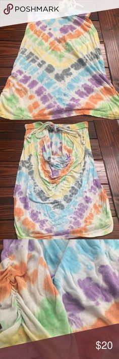 Tye Dye Tube Top Tye Dye Tube Top. Size Large. Purchased from Apricot Lane Boutique. Low back and braided top/ tie in the back. Flattering ruching on both sides of the top. Apricot Lane  Tops