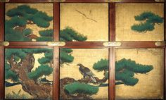 Pine and Eagle, Yonnoma (Fourth Room), Ohiroma, Ninomaru Palace. Edo period, dated 1626 Important Cultural Property Kyoto City (Nijo Castle Office) Japanese Wall, Japanese Screen, Kyoto, Nijo Castle, Castle Painting, Ceiling Painting, Japanese Interior Design, Japanese Painting, Painted Doors