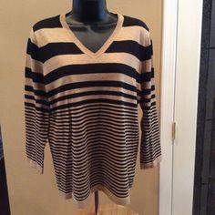 Jones New York Sport  sweater. NWT size Large Black/Camel Heather stripe   Lightweight. V neck Jones New York Sport Sweaters