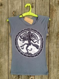 Shiva bio organic cropped sleeves tops and tees women t shirt batik Eco friendly gray  yoga clothes  hand drawn hand painted hand dyed