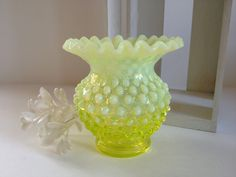 Fenton TOPAZ opalescent glass vase, yellow vaseline hobnail crimped candy ribbon edge cuspidor 1940s.