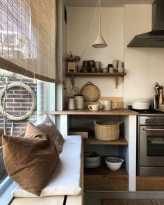 Image may contain: indoor Kitchen Interior, Room Interior, Kitchen Decor, Interior Design, Modern Kitchen Images, Modern Country Style, House Yard, Shed Homes, Slow Living