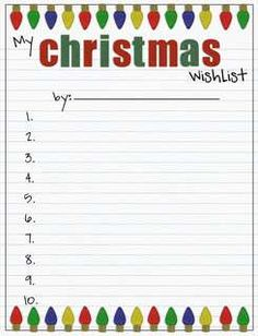 Free Christmas Printable Wish List