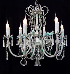 """Stunning! Lighting ~  Vintage  """"Blue Birds""""  CRYSTAL Silver Whitewashed CHANDELIER  24"""" x 22"""" Crystal  6 Lights ~  Ooak ~ Home and Living by SharonsChandeliers on Etsy"""