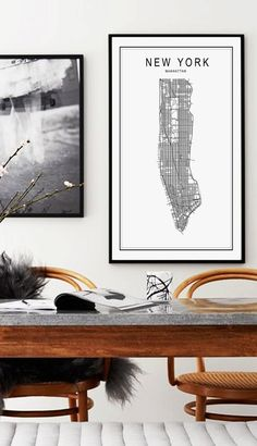 New York Map Print Manhattan Map Print NYC New by AngelinasArtShop