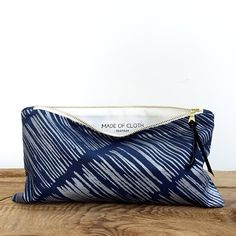 Large Pouch - Stripe on Indigo