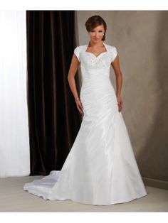Taffeta Queen Anne Neckline Empire Bodice Wedding Dress