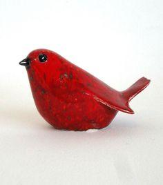 clay bird red by ecorock on Etsy Clay Birds, Ceramic Birds, Ceramic Animals, Clay Animals, Ceramic Clay, Ceramic Pottery, Pottery Sculpture, Bird Sculpture, Pottery Animals