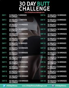 30 Day Butt Challenge Fitness Workout - 30 Day Fitness Challenges. As soon a the knees are able, Im on it.
