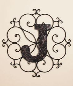 Personalized Metal Embossed Monogram Wall Hanging (J)