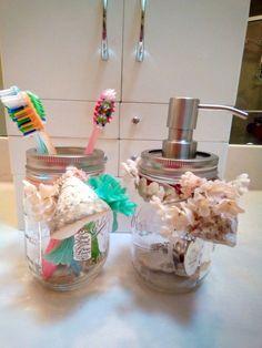 Mason Jar Soap Dispenser and Matching Stainless Toothbrush Holder #MasonBallJars