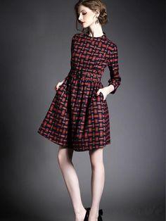 Doresuwe.com SUPPLIES ヨーロッパ2015秋新レディースファッション 気質セレブ七分Aーラインワンピース デートワンピース (4)