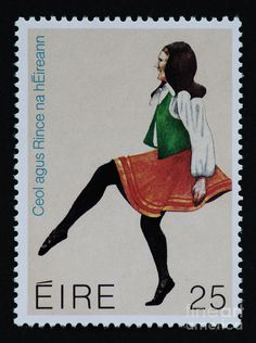 postage stamps with dancers | Irish Music And Dance Postage Stamp Print Photograph