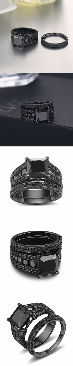 Lajerrio Jewelry Black Princess Cut Black S925 Ring Sets