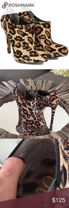 Sam Edelman leopard pony hair Ria bootie Worn once. No damage at all except to soles as shown. Near perfect condition. No point having them sit in my closet. Give them a new home! Sam Edelman Shoes Ankle Boots & Booties