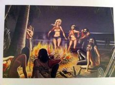 david mann's beach party | David Mann Art Print Motorcycle Poster Beach Party Easyriders Harley