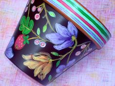 Hand Painted Terracotta Pot 6 Inch Brightly Made by ThePaintedPine, $25.00