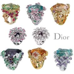 Dior Cocktail Rings Luuuuv how well crafted and detailed their jewelry line is! Dior Jewelry, Gems Jewelry, Luxury Jewelry, Antique Jewelry, Gemstone Jewelry, Jewelry Accessories, Jewelry Design, Jewellery, Jewelry Ideas