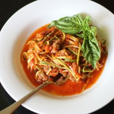 "Quick Meaty ""Spaghetti"" Marinara HealthyAperture.com"