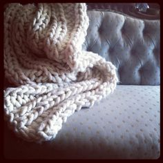 Loopy Mango chunky knit blanket goes perfect with vintage furniture. Available ad a blanket or a diy knit kit from Loopy Mango. -i want to make a blanket like this for our baby boy! Knitting Kits, Knitting Ideas, Knitting Yarn, Knitting Projects, Craft Projects, Craft Ideas, Home Crafts, Arts And Crafts, Diy Crafts