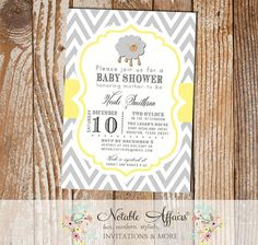 Gray and Light Yellow Lamb Sheep Chevron Baby Shower Birthday or Gender Reveal Invitation - colors can be changed by NotableAffairs