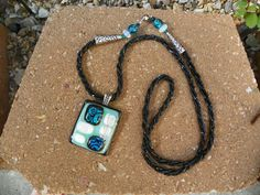 Dazzling Blue and Black Fused Pendant and Necklace. $35.00, via Etsy.
