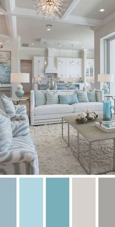 Good Living Room Colors, Beach Living Room, Design Living Room, Cottage Living Rooms, Coastal Living Rooms, Living Room Color Schemes, Living Room Paint, Design Bedroom, Colour Schemes