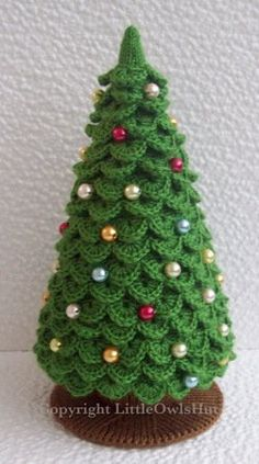 009 Knitting (branches are Crochet) Pattern – Christmas Tree New Year pattern – Amigurumi by Zabelina – christmas knitting ideas Crochet Christmas Decorations, Crochet Christmas Trees, Christmas Tree Pattern, Christmas Crochet Patterns, Holiday Crochet, Diy Christmas Tree, Christmas Knitting, Christmas Ornaments, Christmas Skirt