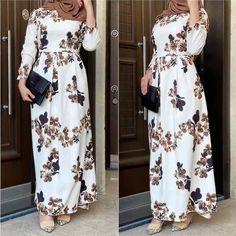 Modest Fashion Hijab, Abaya Fashion, Fashion Dresses, Hijab Dress Party, Muslim Women Fashion, Womens Fashion, Stylish Outfits, Casual Dresses, Retro Fashion