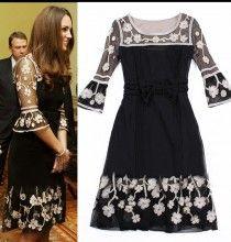 Black Floral Chiffon Flare Sleeve Lady Celebrity Hem Dress