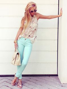 Mint Fashions ;Love Them or Hate Them? Love the cherry blossom top Metallic sandals with the mint pants. I need to get me a pair
