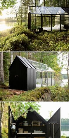 garden shed/summer house A hybrid greenhouse and shed - adding a wooden floor, solar panels for lighting and steps made from reclaimed bricks. I absolutely love this idea, although I'm not going to ask about the logistics of a bathroom.