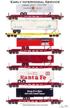 """An 11""""x17"""" poster with some of Andy Fletcher's hand drawings of some early intermodal cars."""