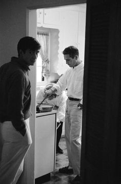 Years before he became a salad dressing mogul, Paul Newman's own Hollywood kitchen saw him cooking eggs for good pal Anthony Perkins in 1958. (Newman's wife Joanne Woodward removes sweet rolls from the oven.)    Read more: http://life.time.com/culture/at-home-with-the-stars/#ixzz1ppa3jISU