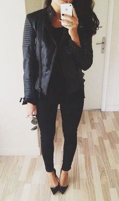Leather, pumps, and skinnies--all black