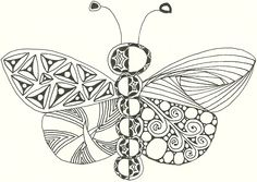 Butterfly Outline I Zentangled.