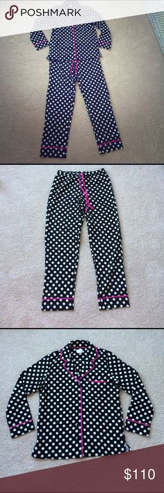 NWOT Kate Spade Pajamas Adorable black and white polka dot PJ's with pink trim. BRAND NEW, never been worn!! kate spade Intimates & Sleepwear Pajamas