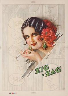 Vintage Deco Adv. for Zig Zag Cigarettes or paper rolls ~ Ilustration by Gasper Camps