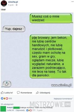 Najlepsze teksty mistrzów internetu #205 – Demotywatory.pl Polish Memes, Funny Sms, Everything And Nothing, Life Thoughts, Just Love, Sarcasm, Texts, Haha, Funny Pictures