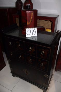 Hand painted leather covered chest with glass top from Beijing, China