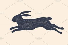 Rabbit, hare, silhouette. Vintage by FoxysGraphic on @creativemarket